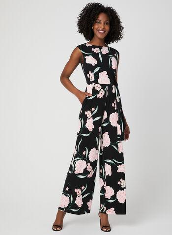 Combinaison à jambe large et imprimé floral, Noir, hi-res,  printemps 2019, jersey, lien à nouer, nœud, fleurs
