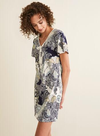 Hamilton - Paisley Print Nightshirt, Black,  pajamas, nightshirt, paisley, jersey, tie, short sleeves, v-neck, spring summer 2020