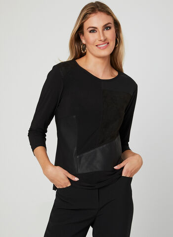 Ness - Faux Leather Jersey Top, Black, hi-res