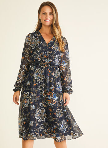 Floral Print Chiffon Dress, Blue,  day dress, midi, floral, chiffon, v-neck, balloon sleeves, elastic, fall winter 2020