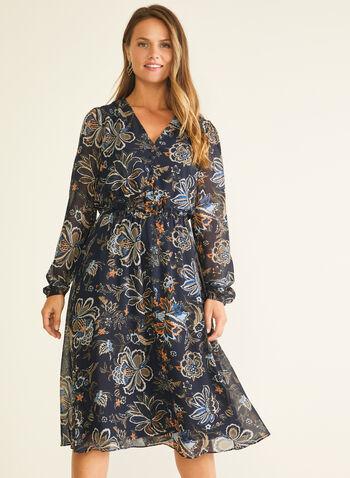 Robe midi en mousseline fleurie, Bleu,  robe de jour, midi, fleurs, mousseline, col v, automne hiver 2020