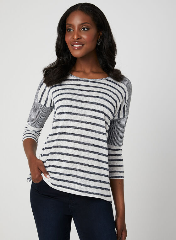 Mode de Vie - Stripe Print Dolman Sleeve Top, Blue
