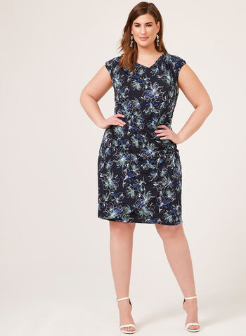 Drape Neck Jersey Dress, Blue, hi-res