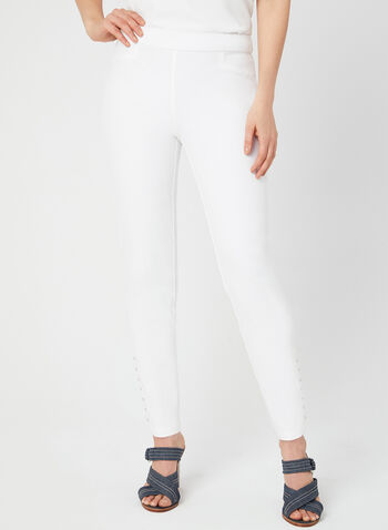 City Fit Slim Leg Pants, Off White,  Fall 2019, cotton, ankle pants, slim leg, pull-on, city fit