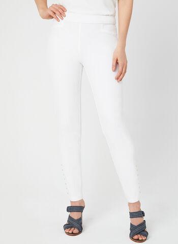 Pantalon coupe cité à longueur cheville, Blanc cassé, hi-res,  pantalon, pull-on, coupe cité, détails cloutés, jambe étroite, automne 2019