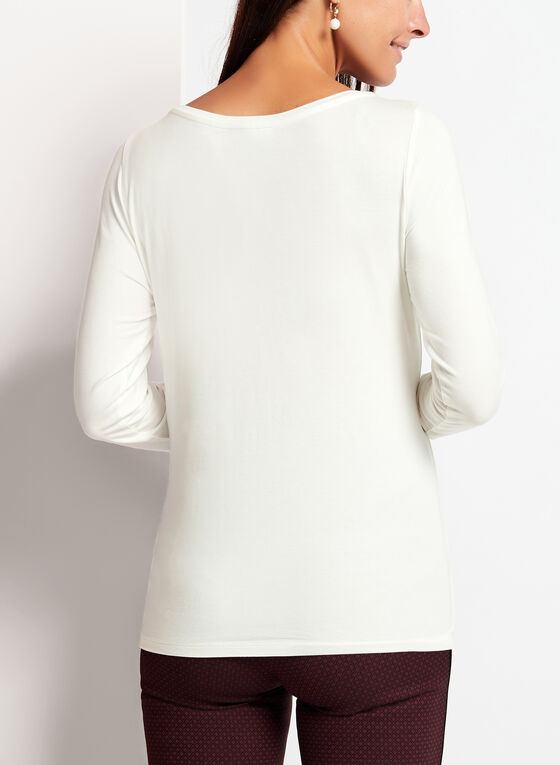 Long Sleeve Scoop Neck Top, Off White, hi-res