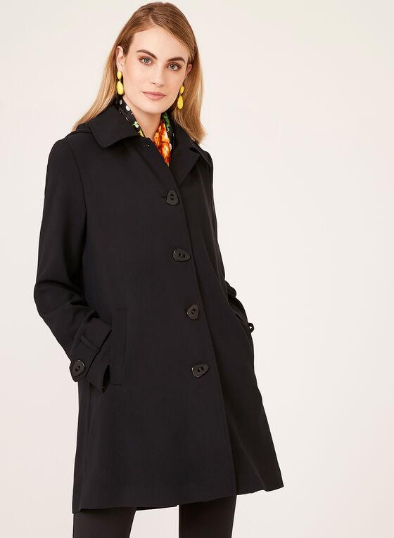 Manteau à capuchon amovible résistant à l'eau, Noir, hi-res