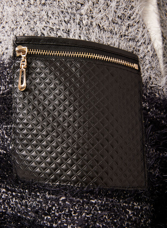 Pull tunique effet poilu avec détails similicuir, Noir, hi-res