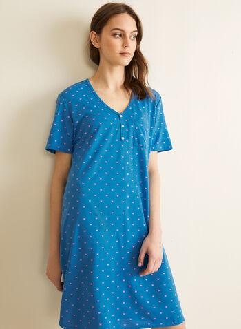 Claudel Lingerie - Patch Pocket Nightshirt, Blue,  nightshirt, sleepwear, v-neck, short sleeves, buttons, stretchy, spring summer 2020