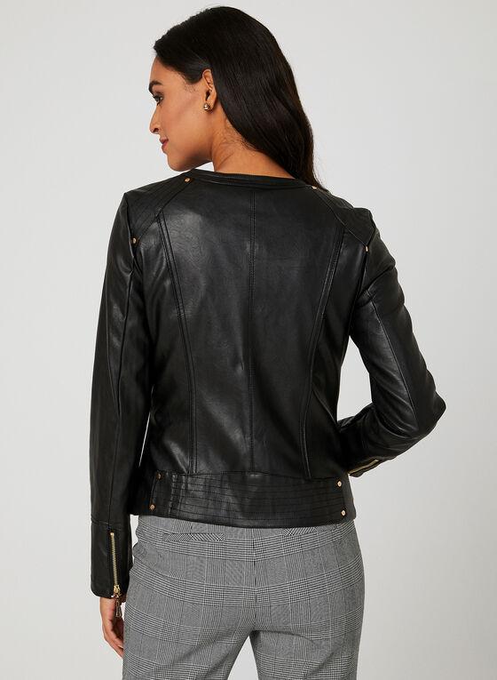 Ness - Veste style motard en faux cuir, Noir