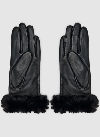 Sheep Leather Gloves, Black,  gloves, faux fur, faux fur gloves, sheep leather, sheep leather gloves, leather, leather gloves, fall 2019, winter 2019