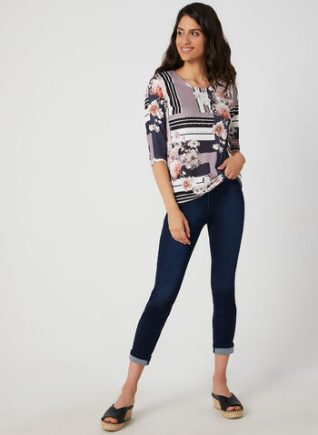 Floral Print ¾ Sleeve T-Shirt, Blue,  t-shirt, 3/4 sleeves, floral print, rhinestones, fall 2019, winter 2019