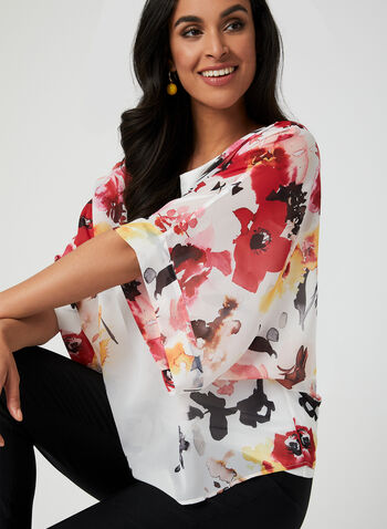 Floral Print Kimono Blouse, White, hi-res