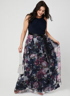 Floral Print Cleo Neck Dress, Blue, hi-res
