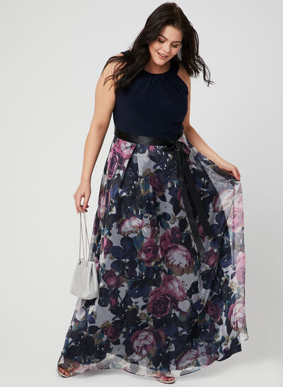 Floral Print Cleo Neck Dress