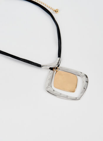 Hammered Metal Pendant Necklace, Yellow, hi-res