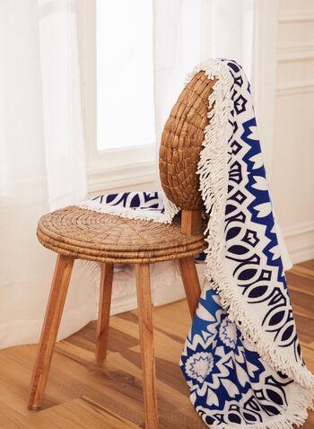 Serviette de plage ronde à motif abstrait, Bleu,  accessoires, serviette de plage, forme arrondie, motif abstrait, franges, printemps été 2021