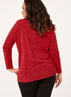 Faux Wrap Cowl Neck Sweater, Red, hi-res