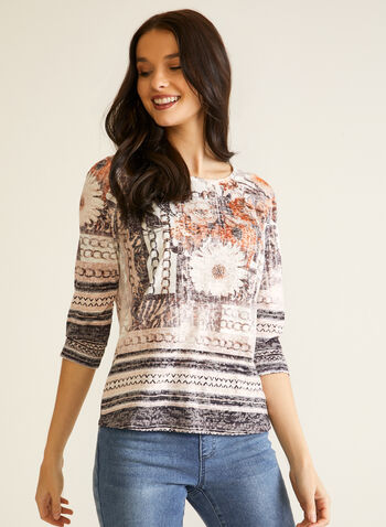 Floral Print Rhinestone Top, Brown,  fall winter 2020, top, 3/4 sleeves, round neckline, crystals, pattern, flowers, floral, floral, striped, stripes, chains