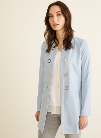 Faux Suede Duster, Blue,  duster, long sleeves, faux suede, open front, eyelets, spring 2020, summer 2020