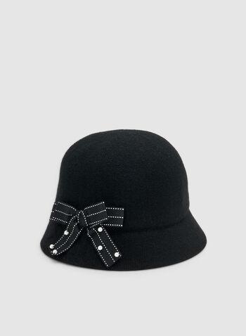Chapeau cloche à détail nœud, Noir,  chapeau, cloche, nœud, perles, laine, automne hiver 2019