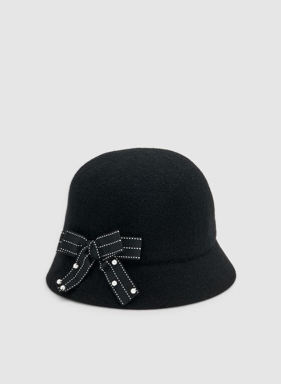 Chapeau cloche à détail nœud, Noir, hi-res