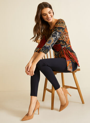 Scarf Print Elbow Sleeve Top, Blue,  blouse, top, tie, twist, elbow sleeves, scarf print, fall winter 2020