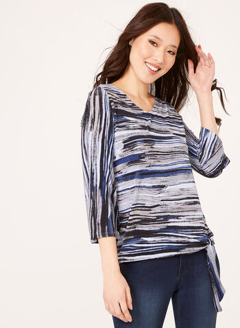 Abstract Stripe Bell Sleeve Top, Blue, hi-res