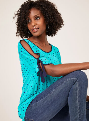 Polka Dot Print T-Shirt, Blue, hi-res