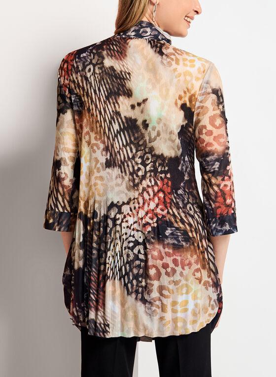 Tunique chemisier plissée à motif animalier, Brun, hi-res
