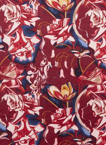 Foulard léger aspect soie à motif de fleurs, Rouge, hi-res