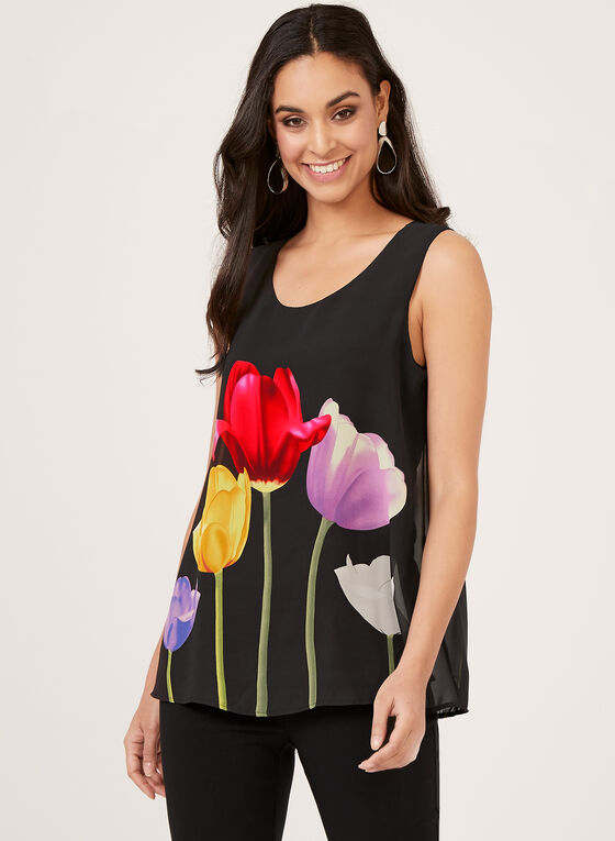 Sleeveless Floral Print Blouse, Black, hi-res