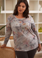 Abstract Floral Print Top, Pink