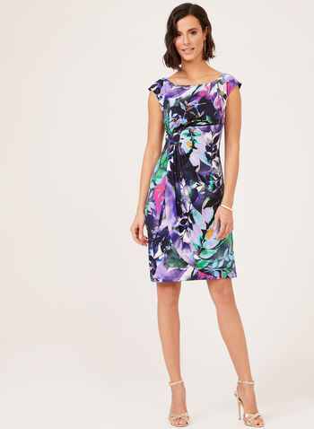 Sleeveless Faux Wrap Jersey Dress, Blue, hi-res