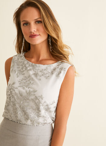 Sleeveless Embroidered Top, Grey,  canada, top, sleeveless, embroidered top, floral top, spring top, summer 2020, spring 2020