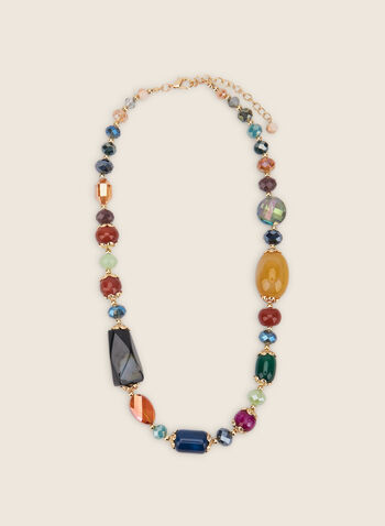 Mixed Stone & Bead Necklace, Multi,  jewellery, accessories, necklace, beads, stones, golden, spring summer 2020