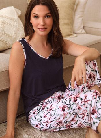 Floral Print Pyjama Set, Blue,  spring summer 2021, sleepwear, pj, pyjama, set, floral print, cami, capris, pants, pull-on, elastic waist, wide strap, V neck, contrast, soft