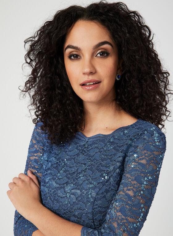 Lace Sequin Popover Dress, Blue, hi-res