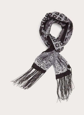 Fringed Burnout Scarf , Black, hi-res