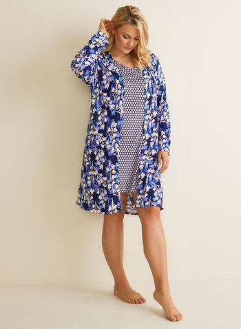 Hamilton - Jersey Robe & Nightgown, Blue,  pajamas, robe, nightgown, floral, circles, jersey, tie, spring summer 2020