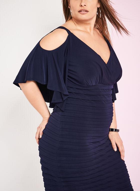 Jersey Cold Shoulder Shutter Dress, Blue, hi-res