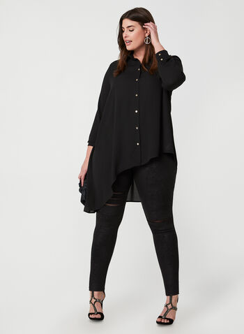 Joseph Ribkoff - Asymmetrical Tunic Blouse, Black,  Joseph Ribkoff, blouse, tunic, long sleeves, button down, asymmetrical, fall 2019, winter 2019