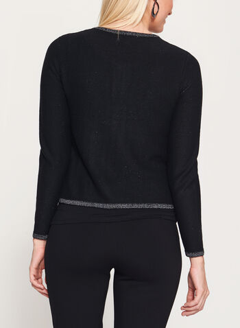 Embellished Long Sleeve Cardigan, Black, hi-res