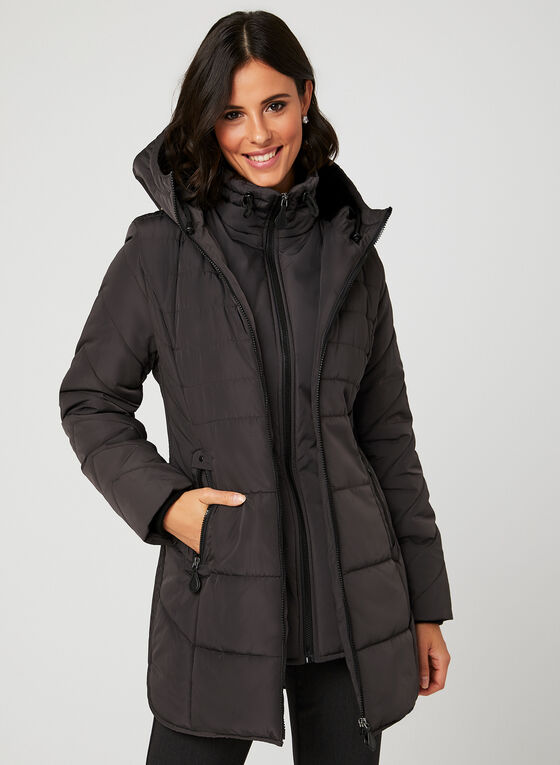 Northside - Hooded Quilted Coat, Grey, hi-res