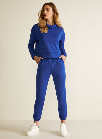 Cowl Neck Long Sleeve Top, Blue,  top, cowl neck, long sleeves, sweater, loungewear, home, ponte di roma, fall winter 2020