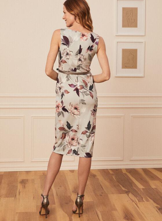 Joseph Ribkoff - Floral Print Ruched Dress, Grey