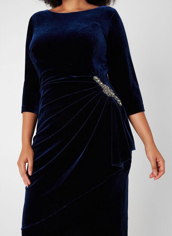 Robe drapée en velours, Bleu, hi-res