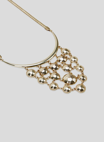 Hammered Metal Bib Necklace, Gold, hi-res