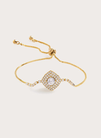 Crystal Embellished Thin Chain Bracelet , Gold, hi-res