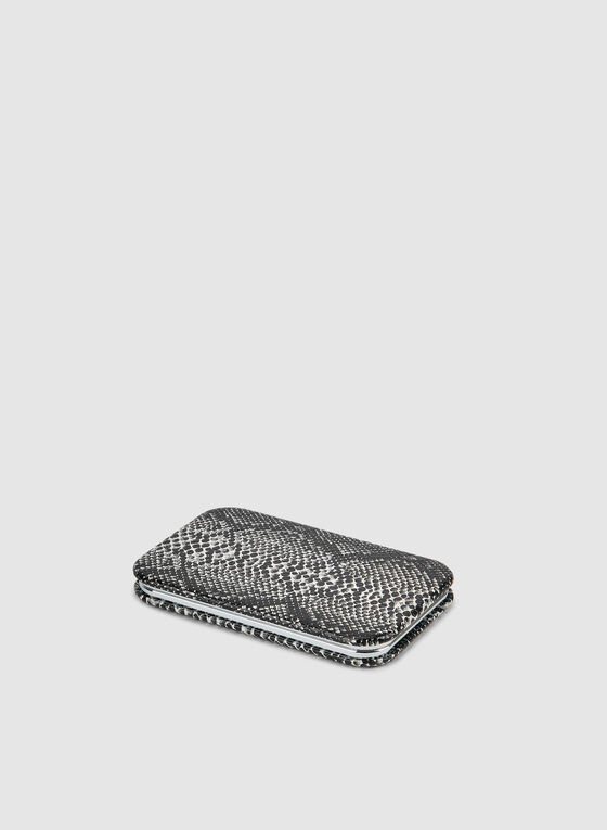 Faux Snakeskin Compact Mirror , Grey